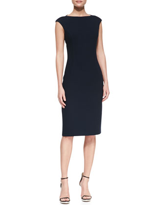 Boucle Cap-Sleeve Sheath Dress, Midnight