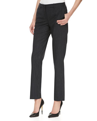 Pinstriped Straight-Leg Slim Pants