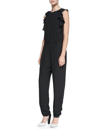 Sleeveless Ruffle-Side Jumpsuit