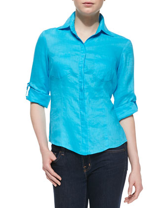 Milly Linen Back-Vent Shirt