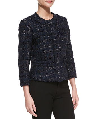 Liquid Tweed Jewel-Neck Jacket, Midnight