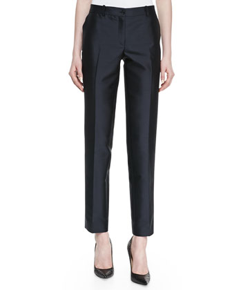 Wool Shantung Slim Pants, Midnight
