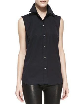 Sleeveless Poplin Shirt, Black
