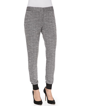Knit Check-Print Slim-Leg Pants