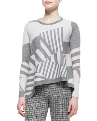 Asymmetric-Stripe Pullover Sweater & Knit Check-Print Slim-Leg Pants