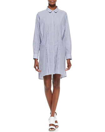 Long-Sleeve Striped Tuck-Front Cotton Shirtdress