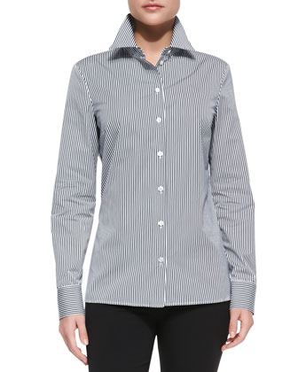 Long-Sleeve Striped Poplin Shirt, Midnight/Optic White