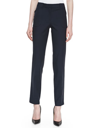 Eva Broadcloth Utility Pants, Midnight
