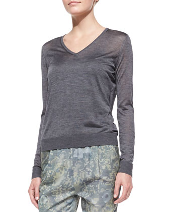 Julie Lightweight Knit V-Neck Sweater, Heather Gray