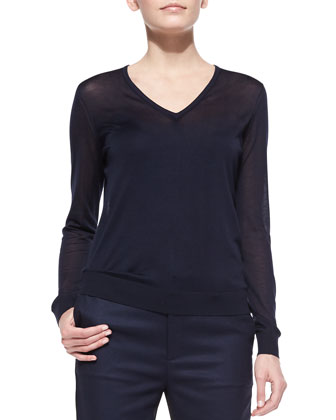 Julie Lightweight Knit V-Neck Sweater & Bergen Two-Tone Slim Pants
