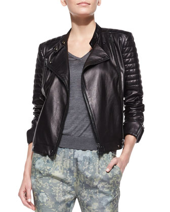 Crista Leather Moto Jacket, Julie Lightweight Knit V-Neck Sweater & Starkey ...