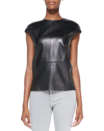Karo Cap-Sleeve Leather Top