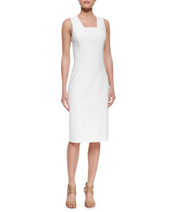 Double-Face Stretch Sheath Dress, Optic White