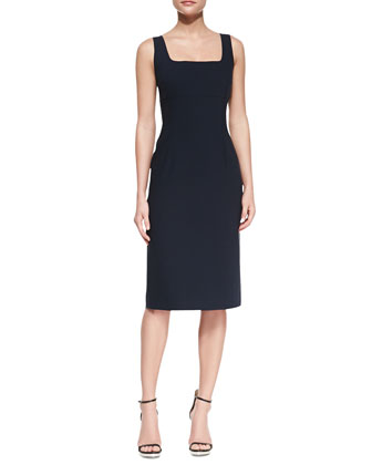 Sleeveless Sheath Stretch-Cotton Dress, Midnight