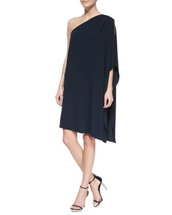 One-Shoulder Tissue Matte Jersey Dress, Midnight
