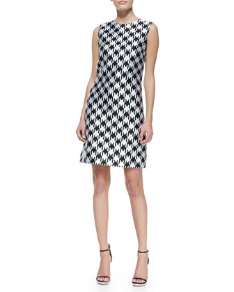 Houndstooth Sleeveless Shift Dress