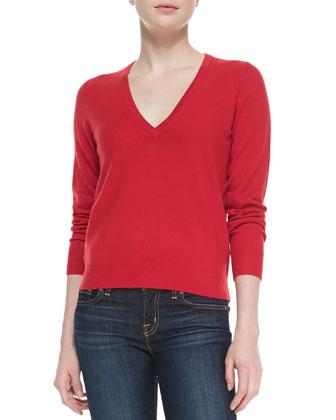 V-Neck Cashmere Top, Crimson