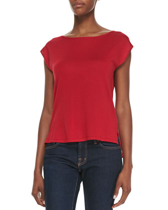 Silk High-Low Top, Crimson
