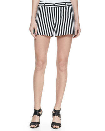 Striped Twill Shorts, Black/Optic White