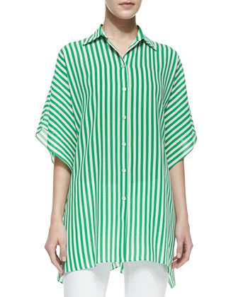 Striped Kimono Blouse, Palm/White