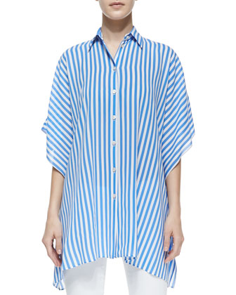 Striped Kimono Blouse, Sea/White