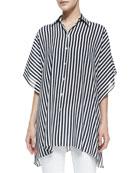 Striped Kimono Blouse, Midnight/White