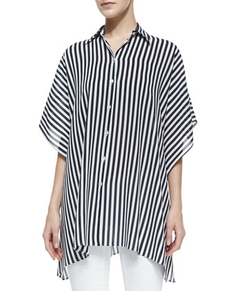 Striped Kimono Blouse, Midnight/White