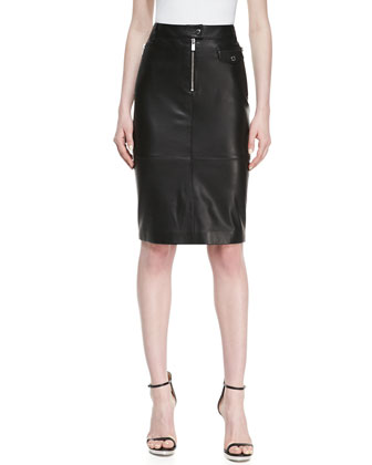 Calfskin Leather Zipper Pencil Skirt, Black