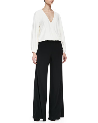 Clover Draped Two-Tone Jersey Jumpsuit