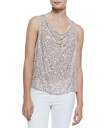 Lucy Flowy Sequined Silk Top