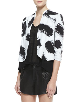 York Brush-Print Cropped Crepe Jacket, Jacie Lace-Sleeve Slub Tee & ...