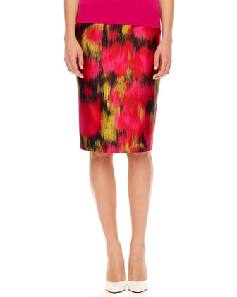 Printed Shantung Pencil Skirt