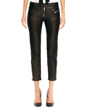 Leather Zip Cropped Pants