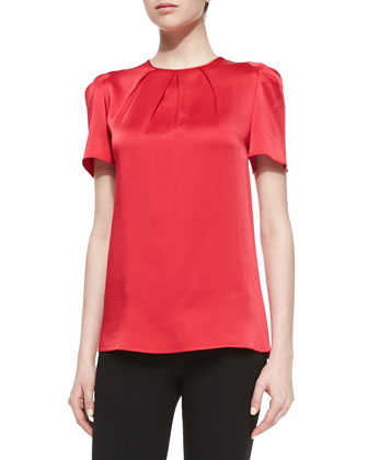 Pleated-Neck Charmeuse Top, Azalea