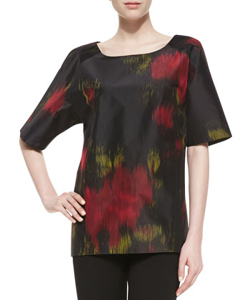 Short-Sleeve Printed Silk Radzimir Tunic
