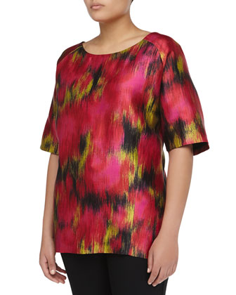 Short-Sleeve Zinnia-Print Scoop Satin Tunic, Rose/Leaf/Black