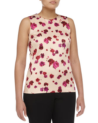 Sleeveless Pansy-Print Silk Top, Rose/Nude