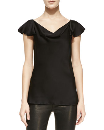 Charmeuse Flutter-Sleeve Top, Black