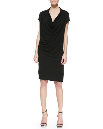 Crepe Jersey Cowl-Neck Shift Dress