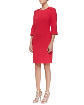 Stretch Boucle Button Dress, Azalea