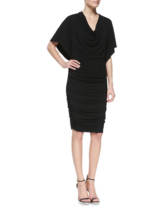 Flutter-Sleeve Ruched Dress