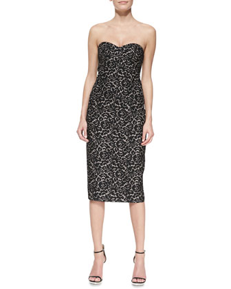 Strapless Lace Jacquard Sheath Dress