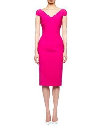 Drape-Skirt Crepe Dress, Begonia