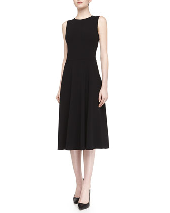 Sleeveless Full-Skirt Midi Dress, Black