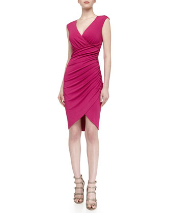 Asymmetric Stretch Knit Tulip Dress, Peony
