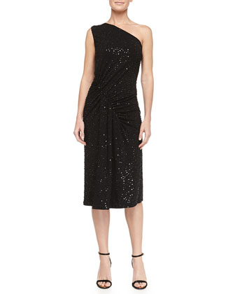 Sequined Asymmetric-Ruched Jersey Dress, Black