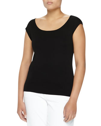 Cap-Sleeve Cashmere Shell, Black, Women's
