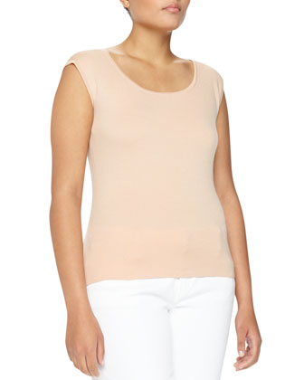 Cap-Sleeve Cashmere Shell, Nude, Women's