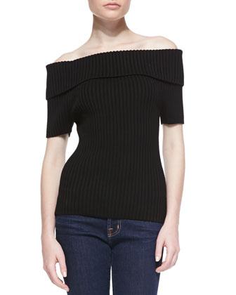 Merino Off-The-Shoulder Top, Black