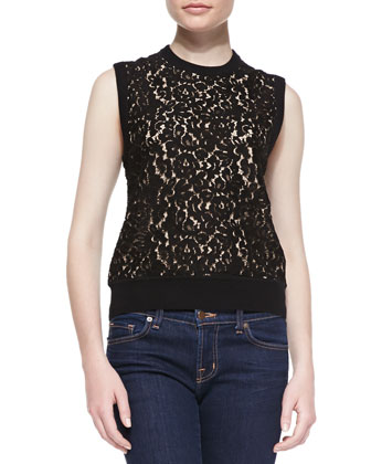 Cashmere Lace-Front Knit Shell Top